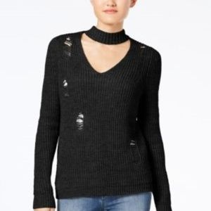 New ALMOST FAMOUS Jr's Ripped Black Choker Sweater